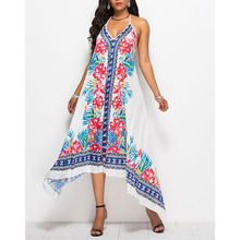 Summer Floral Print Hater Beach Dress Fashion Sleeveless Asymmetrical Sexy Floral Dress Plus Size Vestidos Largos