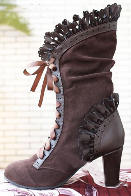 Women's Retro Lace Up Heeled Boots