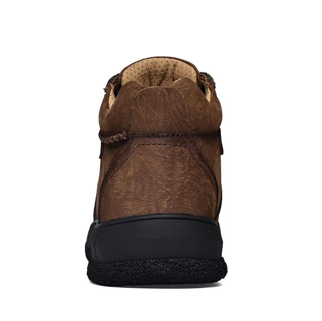 Купить мужские винтажные ботинки из натуральной кожи с круглым носком картинки цена