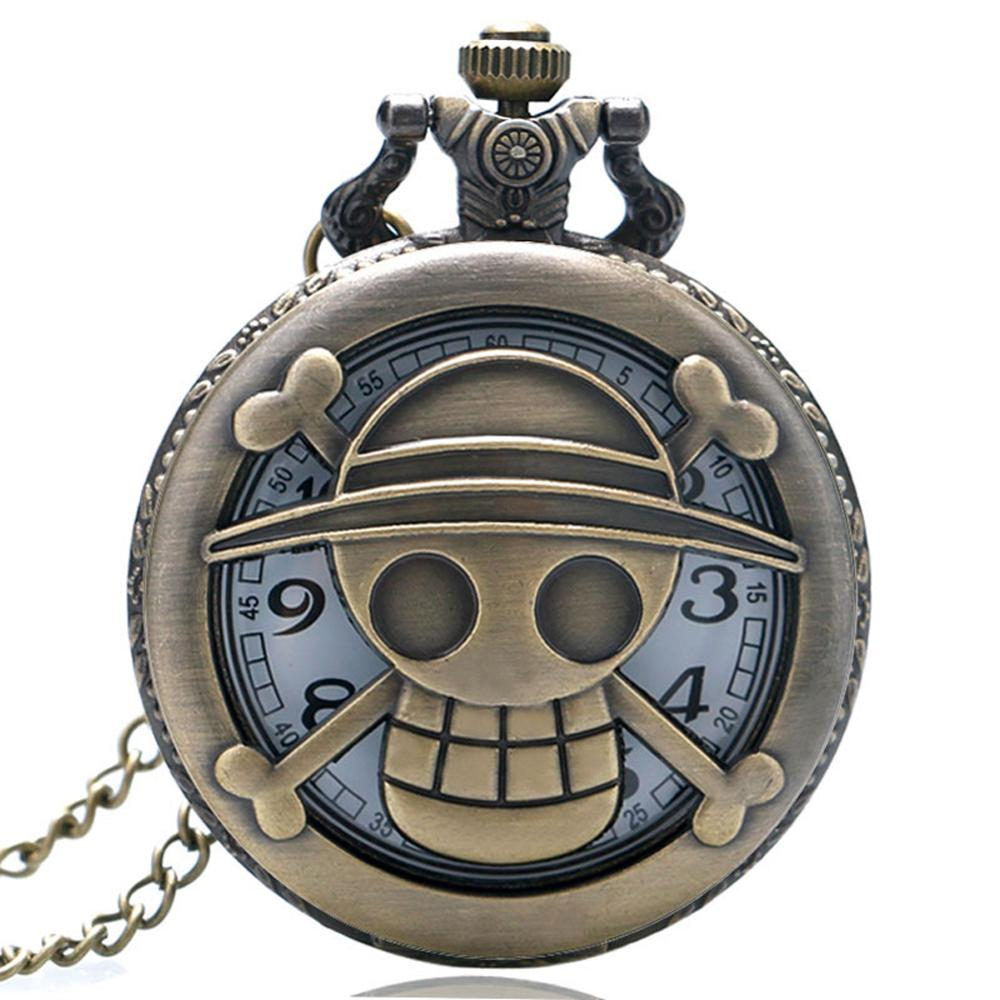 One Piece Bronze Retro Quartz Pocket Watch Hollow Piece Luffy Necklace Pendant FOB Watches Cosplay Gifts For Men Boy Girls Women