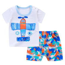 Newborn Infant Baby Boys Girls Short Sleeve Cartoon Tops Shirt+Pants Outfits Set Casual Outfits Clothes Set(China)