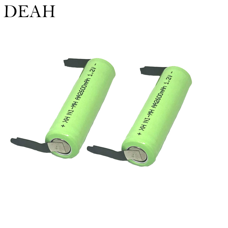 1.2V 2600mah 2A Ni-Mh AA Rechargeable Battery With Welding Tabs For Philips Electric Shaver Razor Toothbrush AA Battery