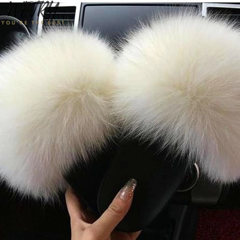 2020 Brand Luxury Fur Slippers Women Real Fox Fur Slides Home Furry Flat Sandals Female Cute Fluffy House Shoes Woman
