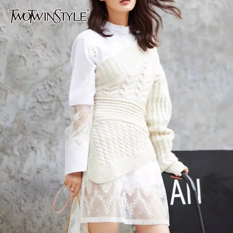TWOTWINSTYLE One Shoulder Knitting Sweaters For Women Irregular Long Sleeve High Waist Casual Autumn Sweater Female Fashion 2019