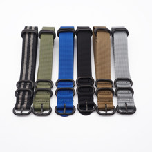 High Quality Premium Nylon Black Rings Wrist Bracelet Band NATO Zulu Watch Strap 20mm 22mm(China)