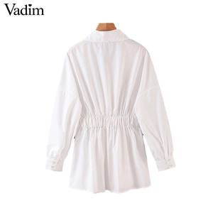 Image 2 - Vadim women chic oversized white blouse V neck back elastic long sleeve shirt female stylish office wear tops blusas LB786