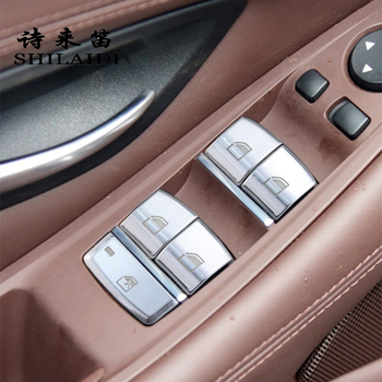 Car Styling Window glass lift switch buttons Cover stickers Trim For BMW X5M X6M X5 X6 F15 F16 Auto Interior Door Armrest panel image