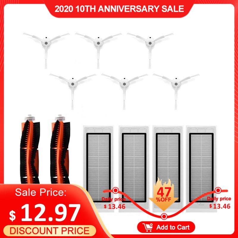 Roborock Accessories Pack Of 6Pcs Side Brush 4Pcs HEPA Filter 2Pcs Main Brush Suitable For Vacuum Cleaner Roborock S50