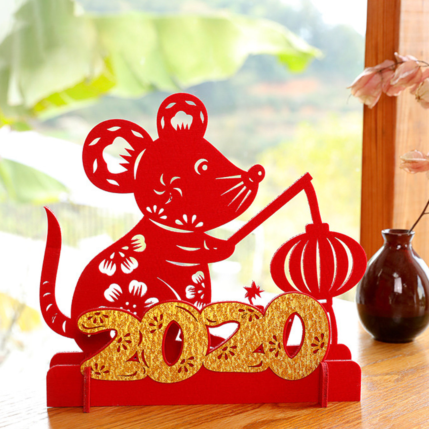 Besegad DIY Chinese New Year Red Rat Desk Table Ornaments Year Of The Mouse Spring Festival Decorations For Home Office Supplies