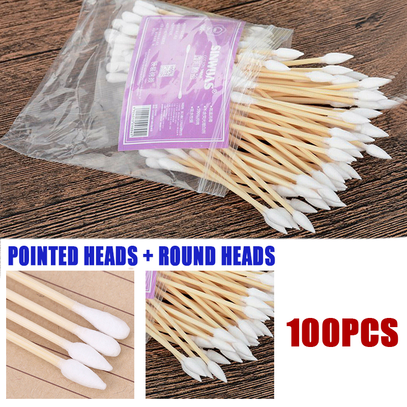 100pcs/pack 7.5cm Wooden Cotton Swabs Medical Makeup Supplies Round + Tip End Double Head Makeup Cotton Swab Health Care Tools