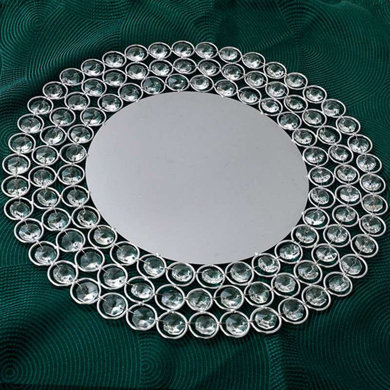 1pcs/lot 30cm Gold/Silver Metal Charger- Plates with Crystal Beads for Dinner or Hotel