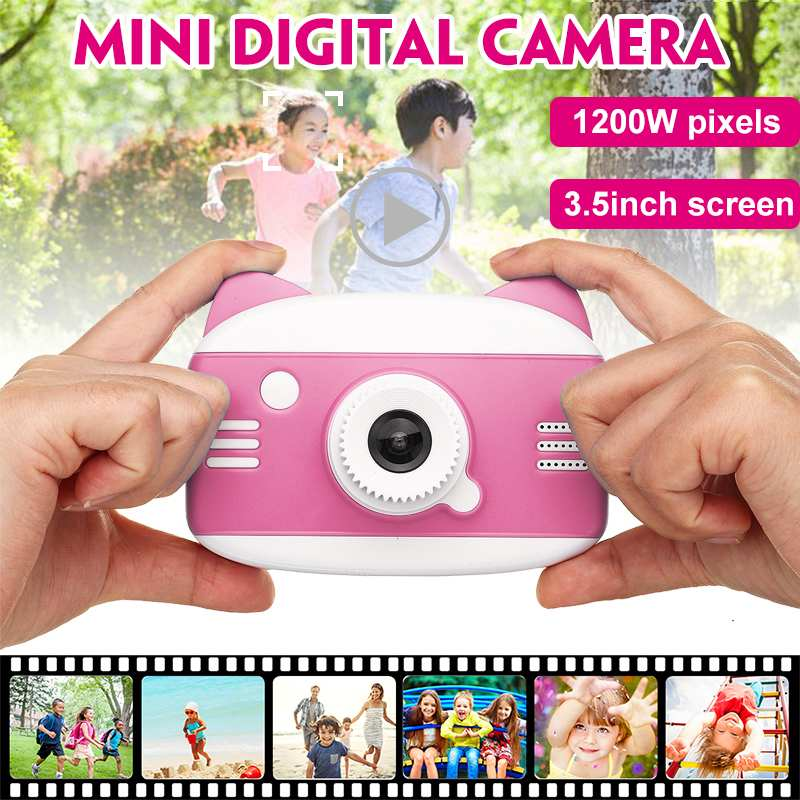 Cartoon Cat Kids Camera 3.5 Inch HD 1080P Children Digital Photo Camera Toy With 600mAh Lithium Battery Gift For Kid Children