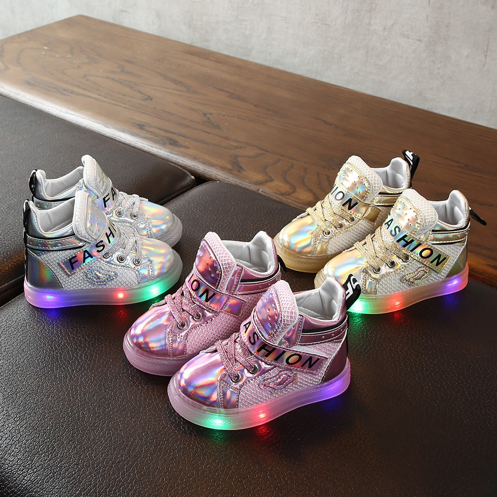 Baby Toddler Kids Boots Children Baby Girls Bling Led Luminous Sport Sneakers Short Boots Booties Shoes детская зимняя обувь