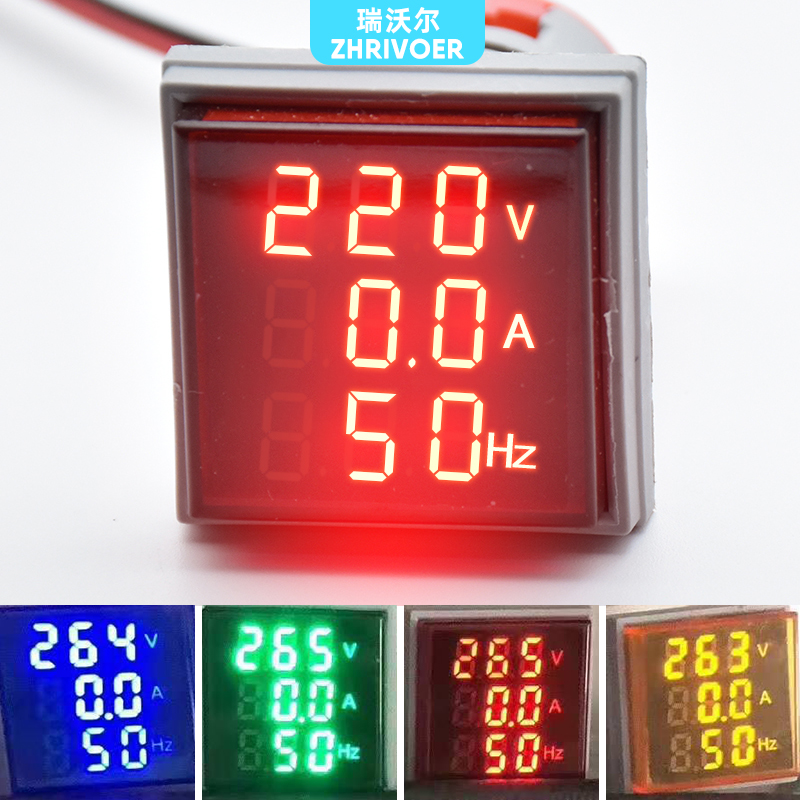 Three Display Digital Voltage Amperometer 22MM AD16-22DSV Type AC 60-500V Mini Voltage Meter LED Voltmeter Indicator Light Lamp