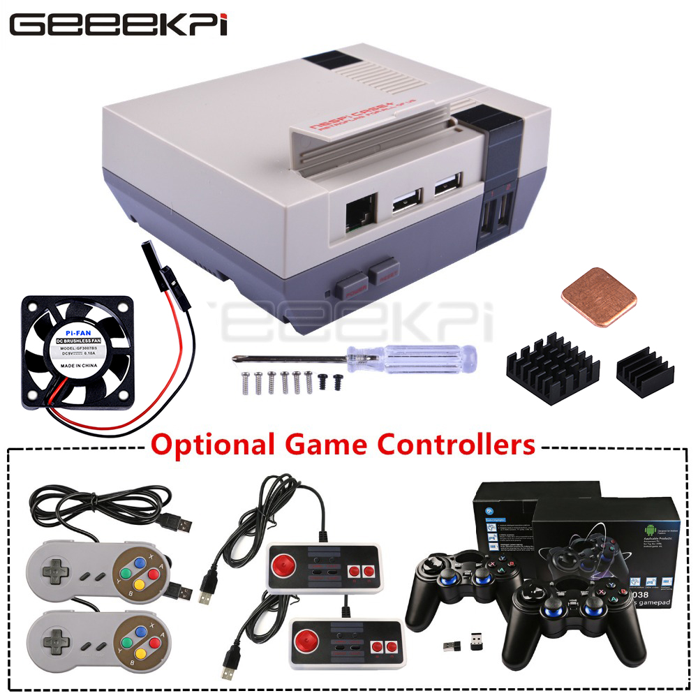 GeeekPi NESPi Case+ Plus Retroflag Kit With Fan+Optional SNES/Turbo/2.4G Wireless Game Controllers For Raspberry Pi 3 B+ /3/2B