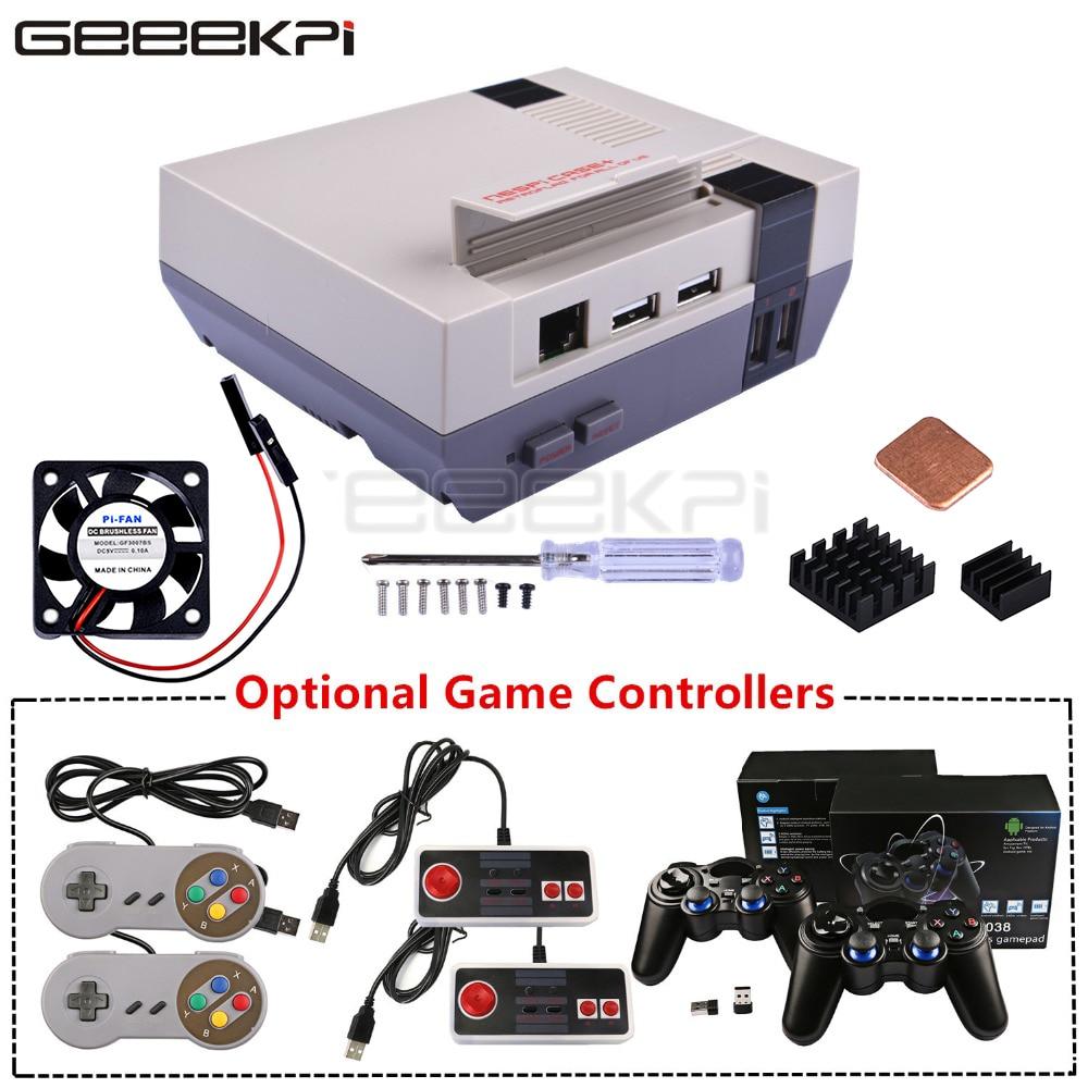GeeekPi NESPi Case+ Plus Retroflag Kit With Fan+Optional SNES/Turbo/2.4G Wireless Game Controllers For Raspberry Pi 3 B+ /3/2B
