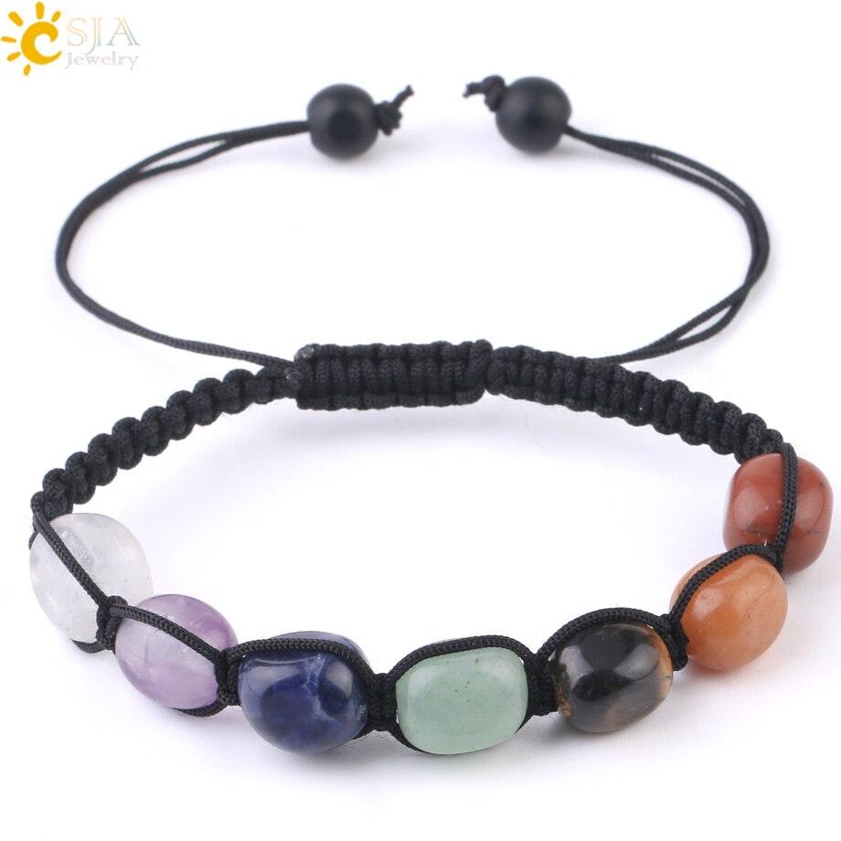 CSJA 7 Chakras Bracelets Reiki Natural Stone Braided Women Bracelet Healing Irregular Bead Handmade String Rope Adjustable G022