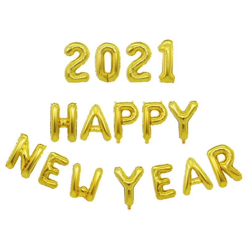 2021 Happy New Year Aluminum Photo Props Balloon Party Supplies Wall Decoration