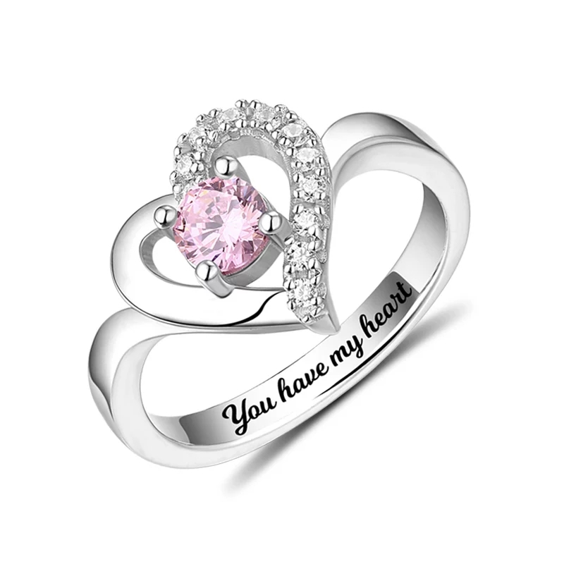 XiaoJing 100%925 Sterling Silver Personalized Classic Heart Shaped Engraved Ring Birthstone Ring Mother's Day Gift Free Shipping