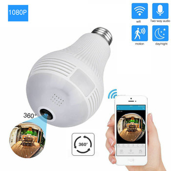 1080P HD WiFi IP Camera 360° VR Panoramic Fisheye Hidden Bulb Light Panoramic Cam Home Security Security WiFi Fisheye Bulb Lamp