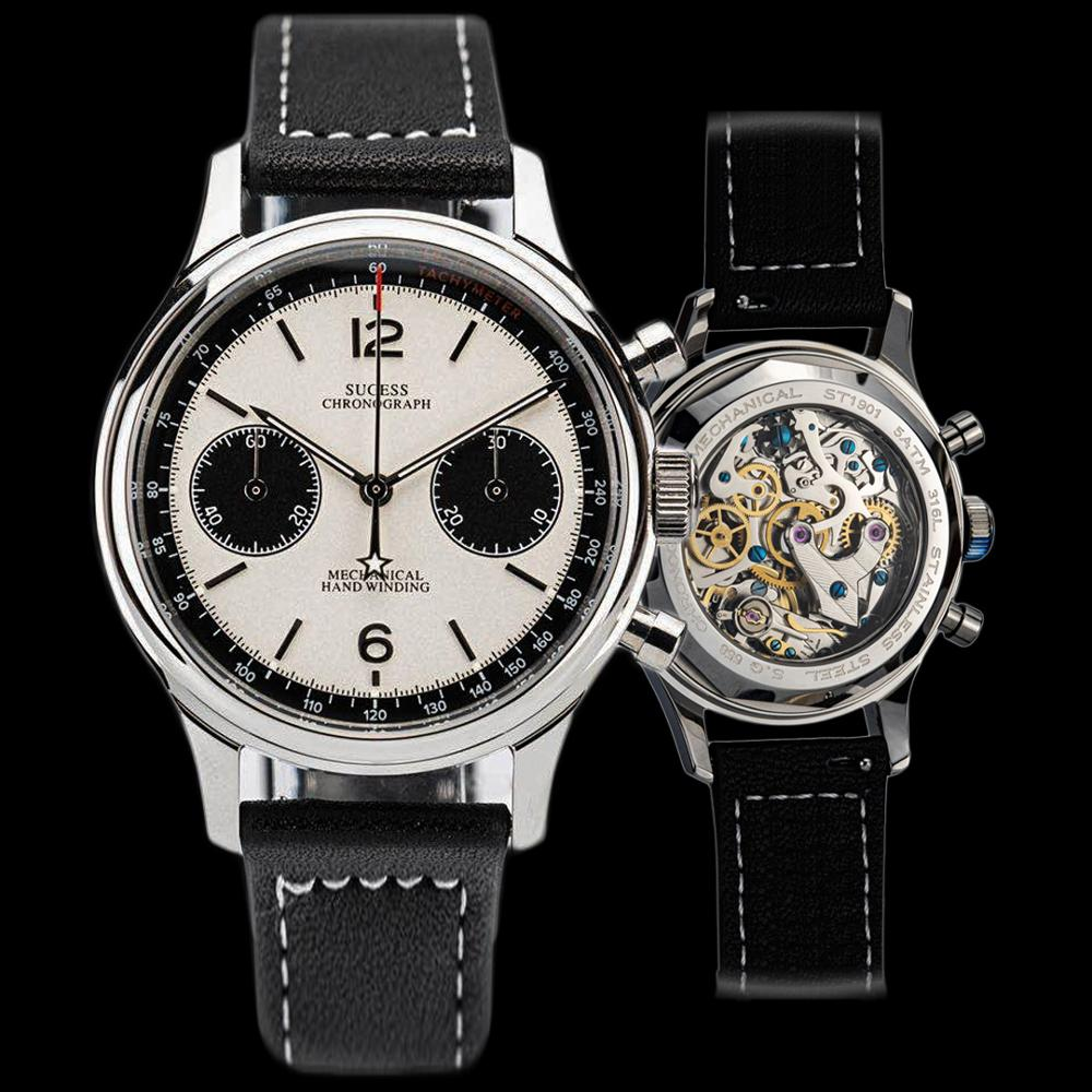 Polit watch Men mechanical watch chronograph panda wristwatch air force sappire watches seagull Movement ST1901official sugess|Mechanical Watches| - AliExpress