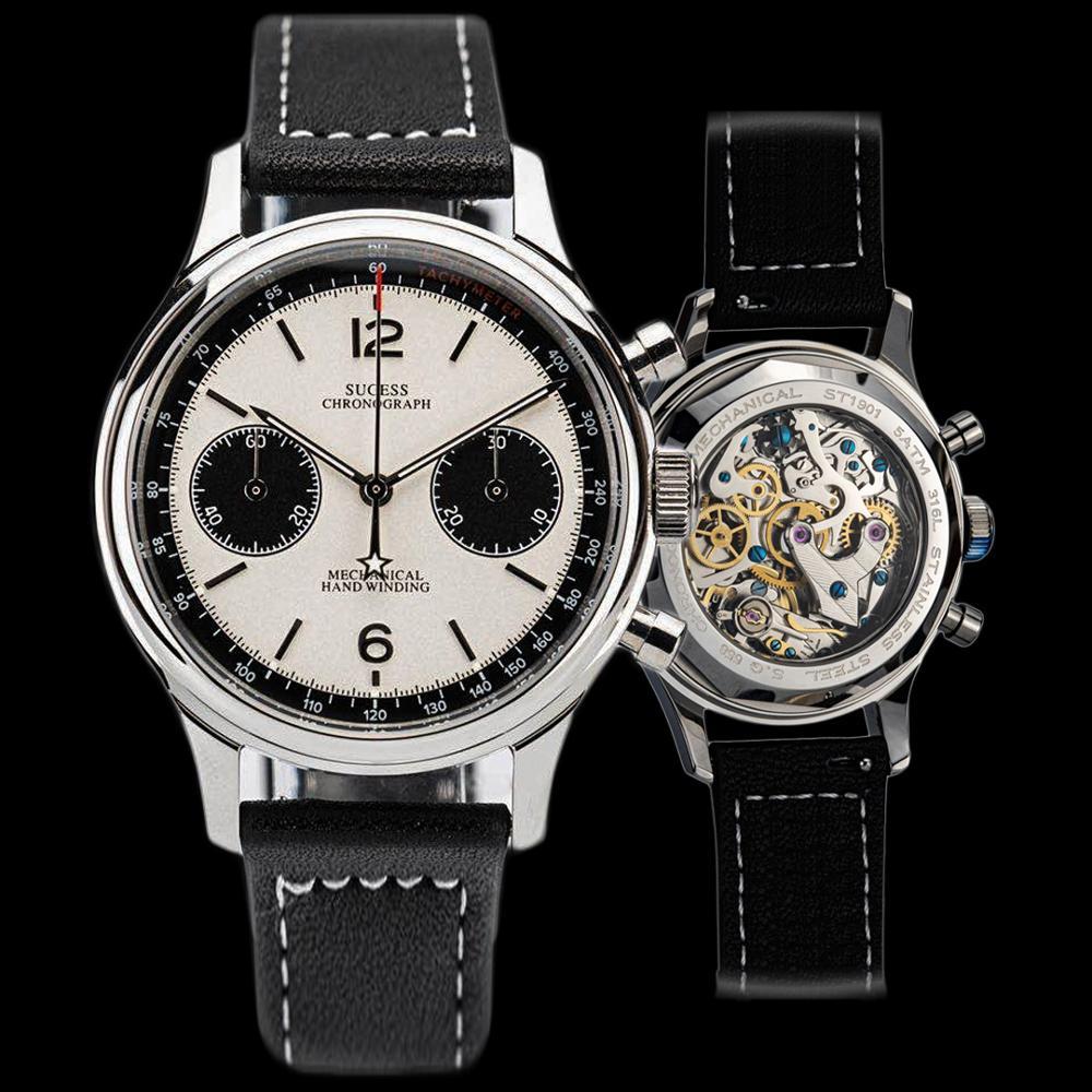 Polit watch Men mechanical watch chronograph panda wristwatch air force sappire watches seagull Movement ST1901official sugess|Mechanical Watches| - AliExpress