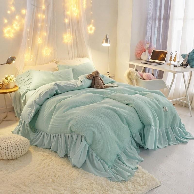 100 cotton soft shabby chic farmhouse bedding pink blue queen king size 4pcs ruffles duvet cover set bed sheet pillow shams