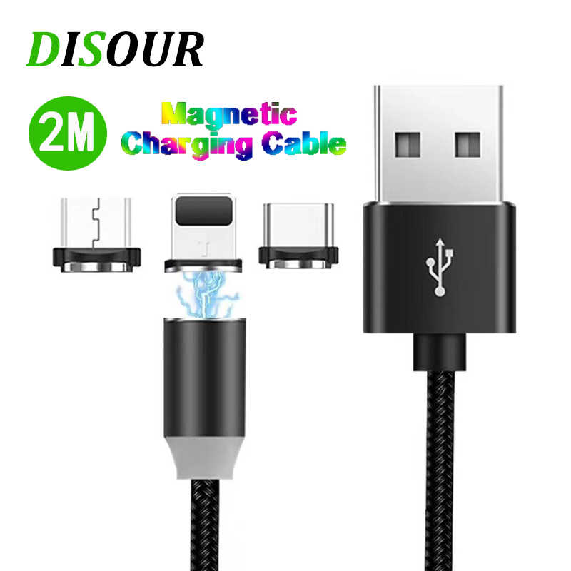 2M LED Magnetic USB Cable Micro USB C Cable Fast Charge Type C Cable Magnet Charger For Samsung Xiaomi iPhone LG Fast Shipping