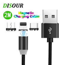 2M LED Magnetic USB Cable Micro C Fast Charge Type Magnet Charger For Samsung Xiaomi iPhone LG Shipping