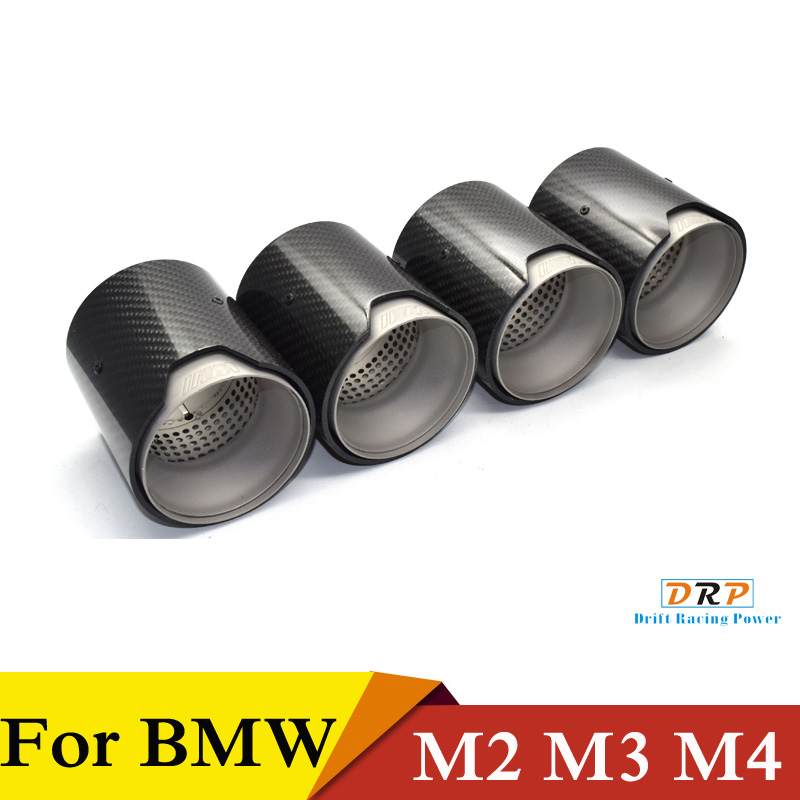 Hot Selling 2 Pcs Matte Black Carbon Fiber Auto Uitlaat Tip Uitlaat Fit Bmw F87/F80/F82 /F83 M2 M3 M4