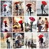 Couple Rain Umbrella Oil Paintings Printed on Canvas 1