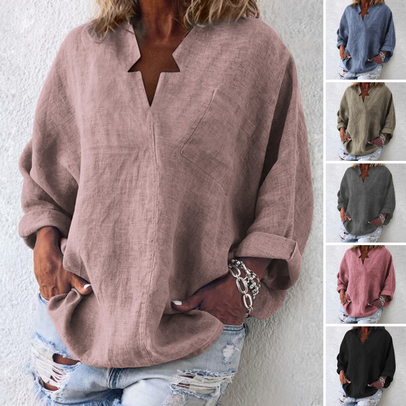 VONDA 6 Colors Women Vintage Blouse Casual Shirt 2020 Autumn Long Sleeve V-Neck Tops OL Blusas Beach Women's Tunic Plus Size