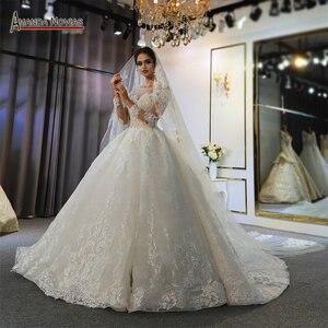 Image 1 - Szata mariage femme 2020 pełna koronkowa suknia ślubna suknie ślubne dla panny młodej