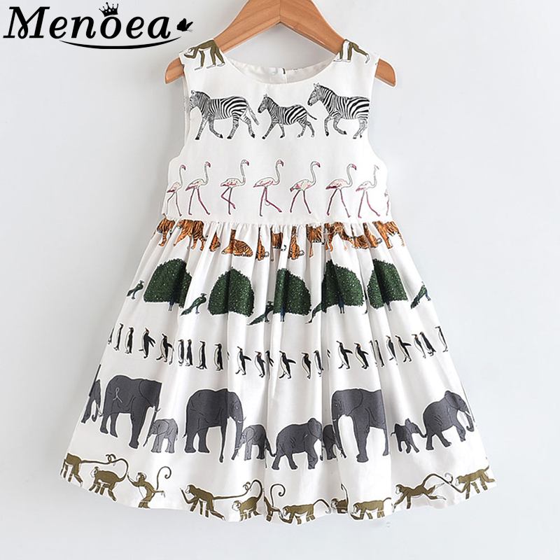 Menoea Girls Summer Dress 2020 Children Sleeveless Animals Printed Princess Dress Kids European And American Style Dress