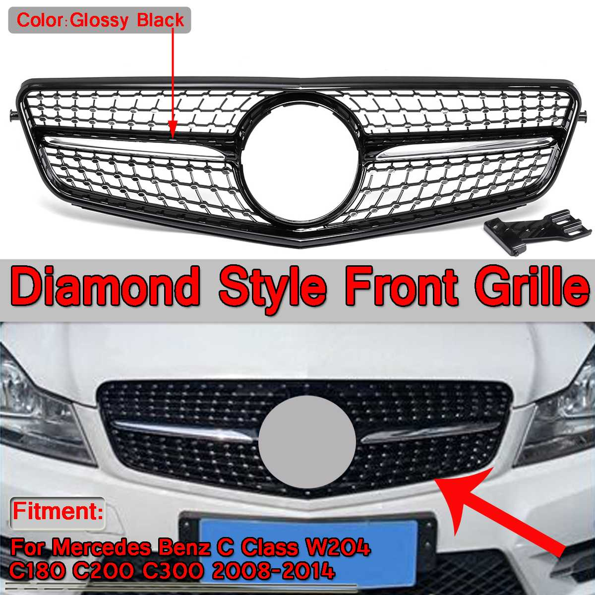 W204 Diamond Style Grille Glossy Black Car Front Bumper Grille Grill For Mercedes For Benz C-Class W204 C180 C200 C300 2008-2014