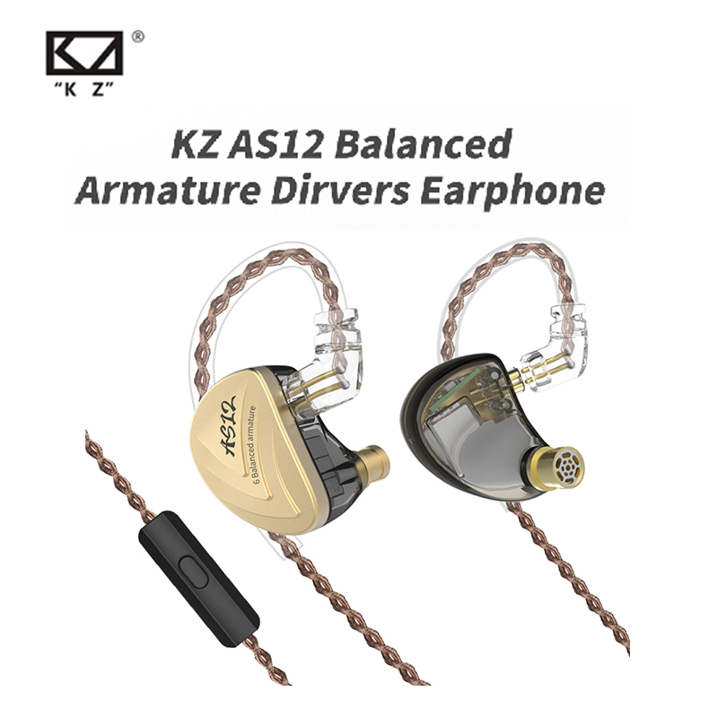 Original KZ AS12 Wired Earphone Perfect Sound Comfortable Wearing Super Compatibility Balanced Armature Earphone 3.5mm Plug