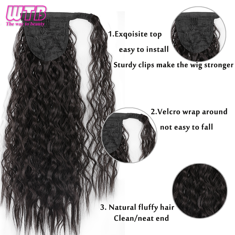 WTB 50cm Corn Curly Long Ponytail Synthetic Hairpiece Wrap Around on Clip Hair Extensions for Women Hair