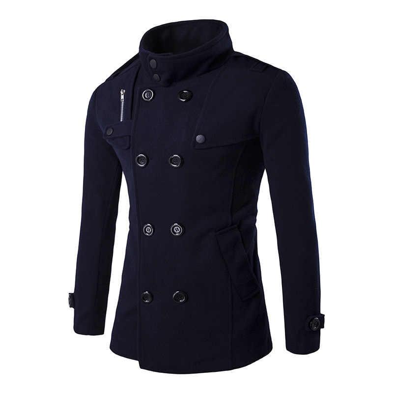 영국 스타일 망 슬림 맞는 겉옷 2020 새로운 겨울 더블 브레스트 긴 소매 트렌치 코트 캐주얼 포켓 지퍼 남성 코트