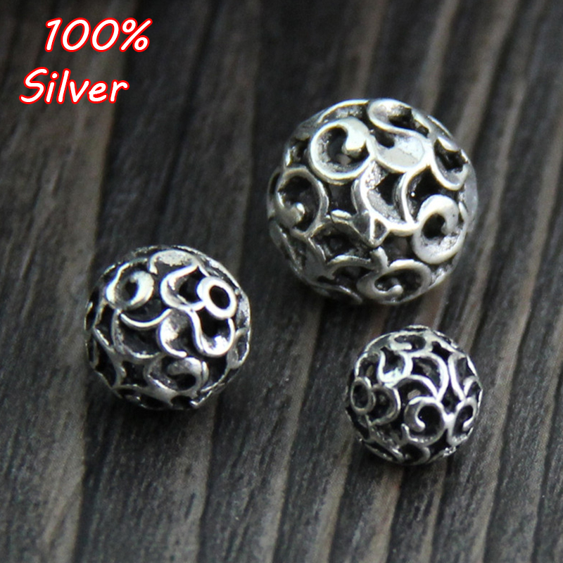 925 Sterling Silver Spacer Beads Antique Silver Plated Loose Beads DIY Making For Jewelry Bracelet Accessories Handmade Craft