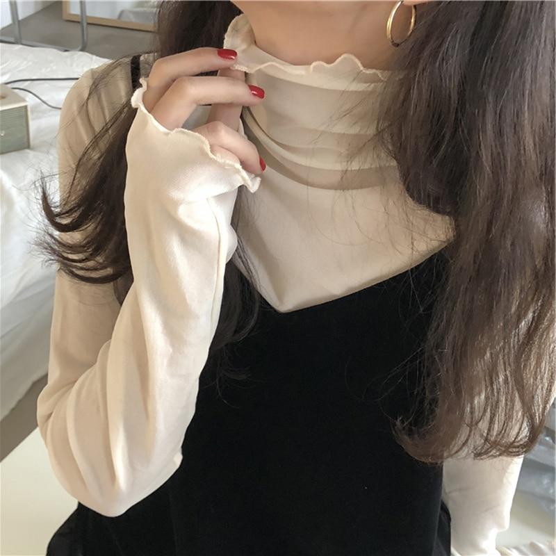Fashion Mesh Solid Basic T Shirt Long Sleeve High Collar See-through T-shirt Thin Slim Street Casual Tee Shirts XZ621