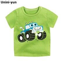 [Unini-yun] Модные хлопковые футболки с космическим кораблем для мальчиков и девочек Детские футболки с мультяшным принтом топы для маленьких детей футболки От 6 месяцев до 7 лет
