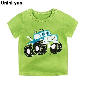 [Unini-yun] الأزياء القطن سفينة الفضاء الفتيان الفتيات القمصان الأطفال أطفال الكرتون طباعة تي شيرت الطفل قمم ملابس الطفل تي 6 متر -7 طن