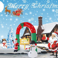 240cm Inflatable Creative Arch Model Christmas Santa Claus And Snowman Christmas Ornament For Courtyard Outdoor Layout Decor