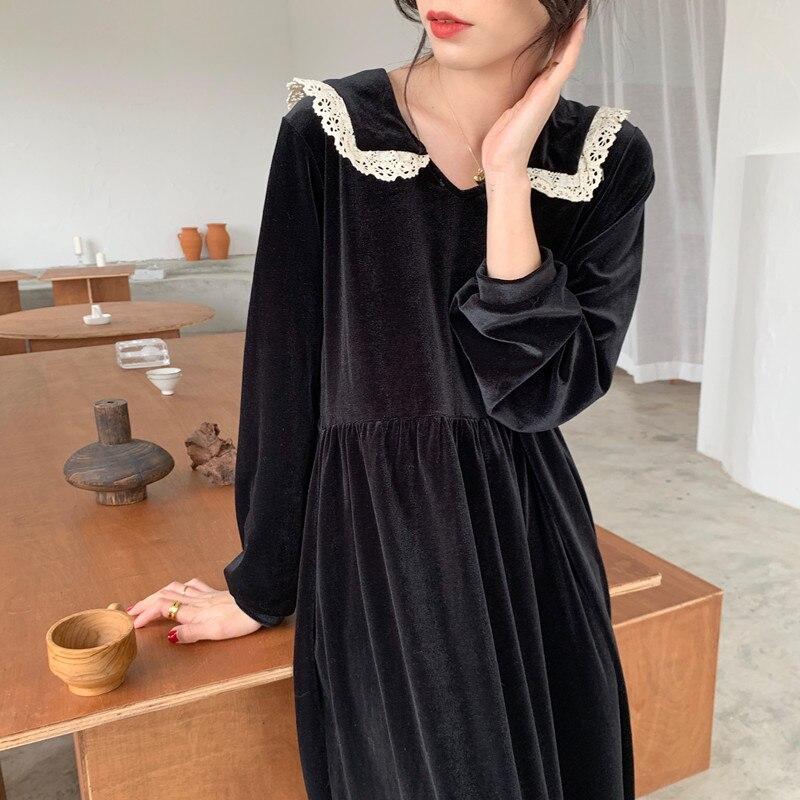 Women Spring Black Lace Sailor Collar Long Sleeve Long Dress Vintage Velvet High Waist Straight Loose Casual Dresses