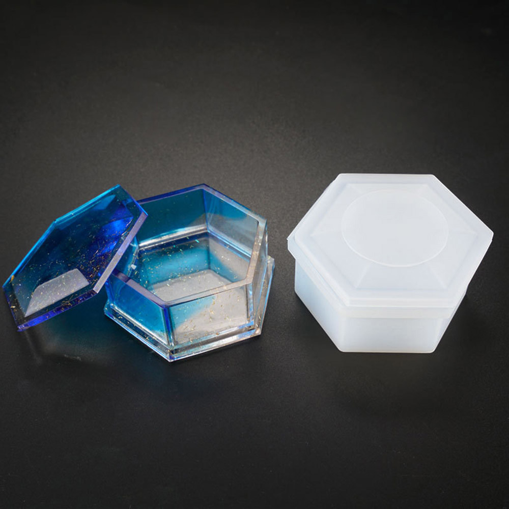 New 1Pc Transparent Silicone Hexagon Jewellery Case With Lid Cover Necklace Storage Box Mold Resin Casting Mould DIY Craft Tools