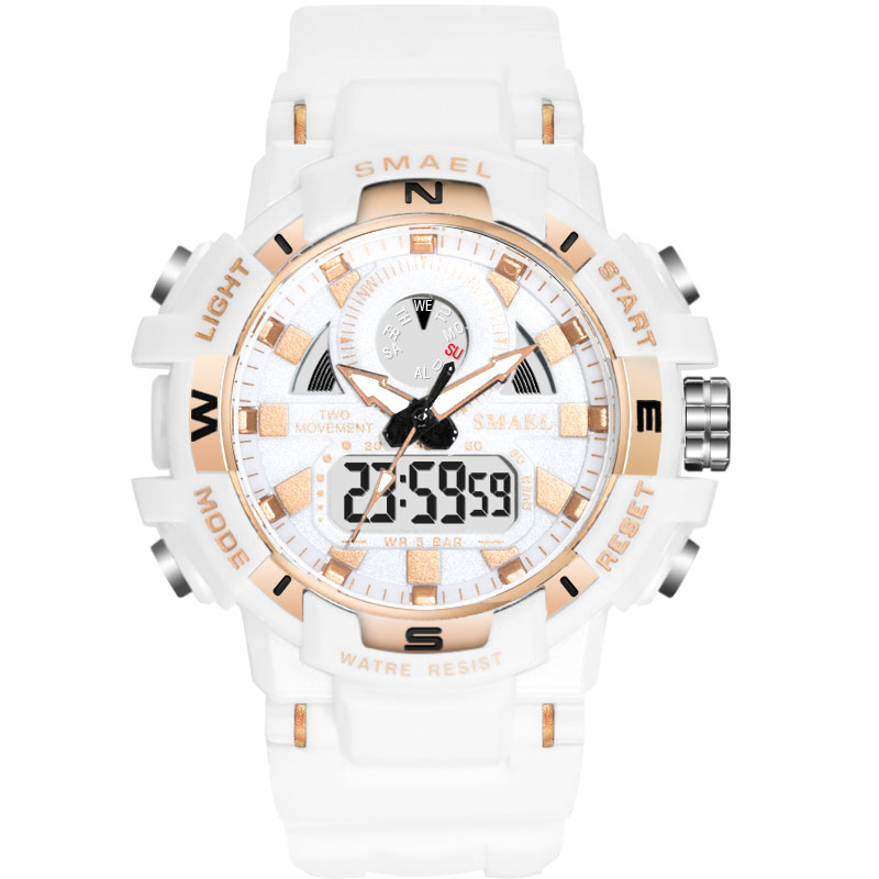 2019 Men Watch White Sport Watches SMAEL Dual Display Watches White Rubber Alarm 1557B Waterproof Watches relogio masculino