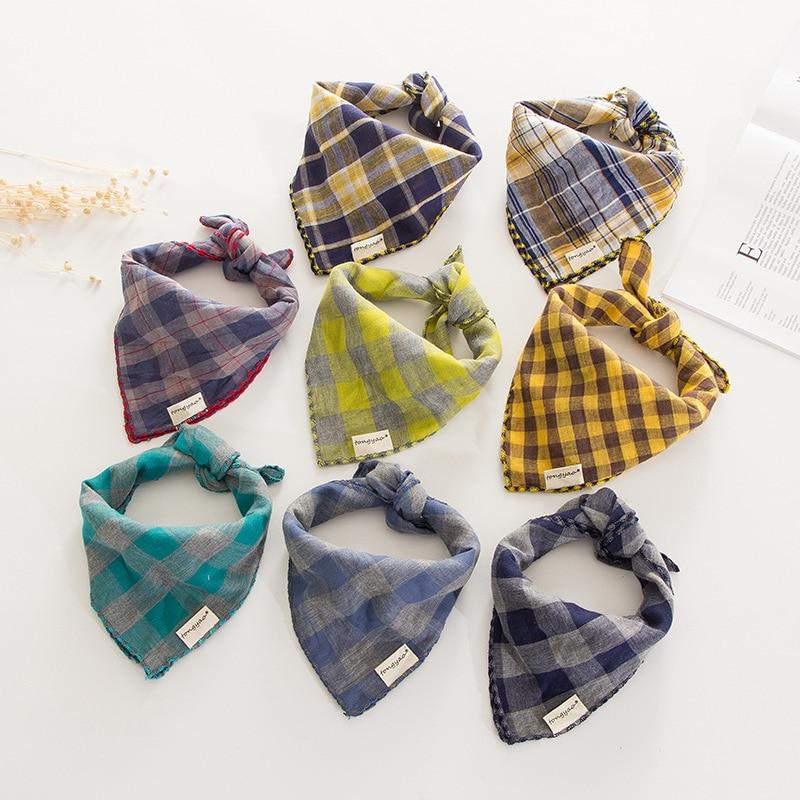 2020 New Korean Version Of Pure Cotton Linen Square Towel Double Cotton Four Corner Children's Small Scarf