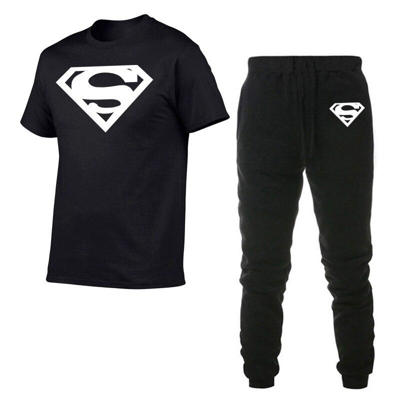 Superman Shirts Hot Sale Men Sets Pants + T- Shirts Two Pieces Sets Casual Tracksuit Male T-shirt Gyms Fitness Trouser