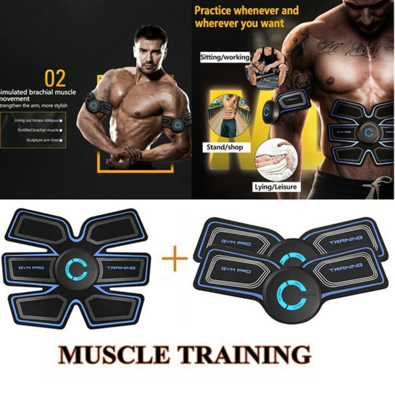 Muscle Training Body Sixpack Fit Set ABS Black Electrical Muscle Simulation Lazy Fitness Device Slimming Stickers Belt