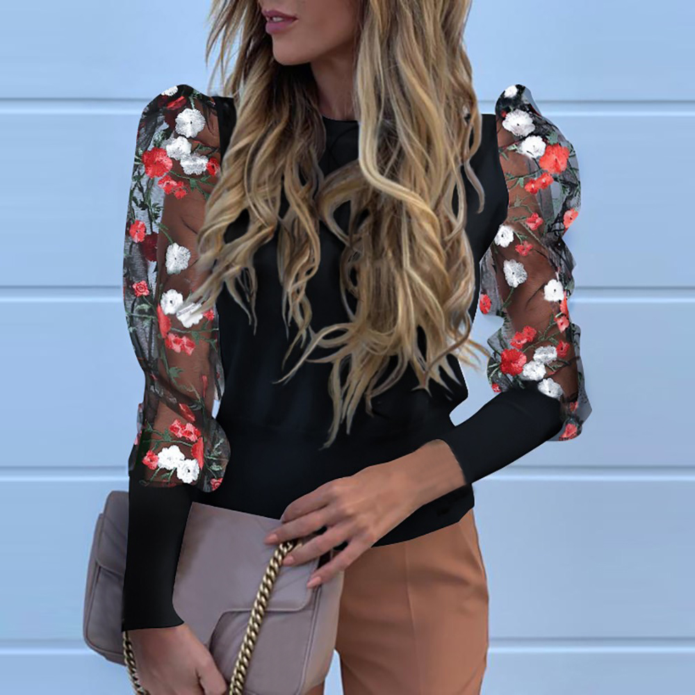 2020 Sexy Hollow Out Patchwork Mesh Shirt Blouse Women Fashion Puff Long Sleeve Top Floral Print Blusa Sweatshirt Mujer